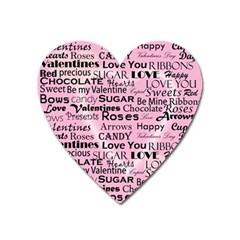 Valentine Love Heart Roses Sweet Pink Heart Magnet by Jojostore