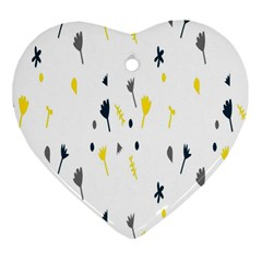 Flower Floral Yellow Blue Leaf Heart Ornament (two Sides) by Jojostore