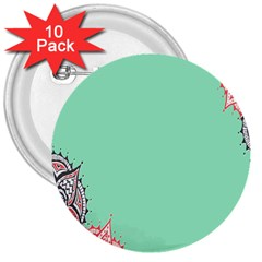 Flower Floral Green 3  Buttons (10 pack)