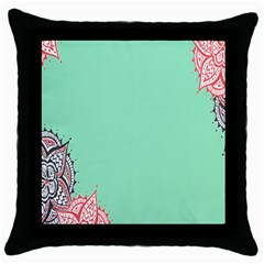 Flower Floral Green Throw Pillow Case (Black)