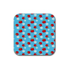 Fruit Red Apple Flower Floral Blue Rubber Coaster (square)  by Jojostore
