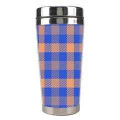 Fabric Colour Blue Orange Stainless Steel Travel Tumblers by Jojostore