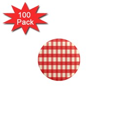 Gingham Red Plaid 1  Mini Magnets (100 Pack)  by Jojostore
