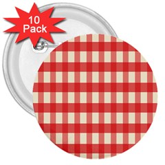 Gingham Red Plaid 3  Buttons (10 pack)