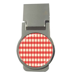 Gingham Red Plaid Money Clips (round)  by Jojostore