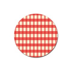 Gingham Red Plaid Magnet 3  (round) by Jojostore