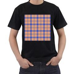Fabric Colour Orange Blue Men s T Shirt (black) (two Sided) by Jojostore