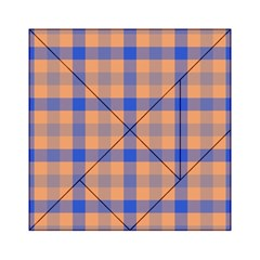 Fabric Colour Orange Blue Acrylic Tangram Puzzle (6  X 6 ) by Jojostore