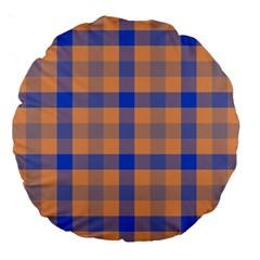 Fabric Colour Orange Blue Large 18  Premium Round Cushions by Jojostore