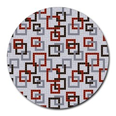 Links Rust Plaid Grey Red Round Mousepads