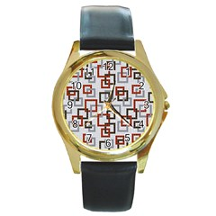 Links Rust Plaid Grey Red Round Gold Metal Watch by Jojostore