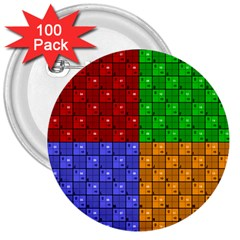 Number Plaid Colour Alphabet Red Green Purple Orange 3  Buttons (100 Pack)  by Jojostore