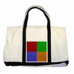 Number Plaid Colour Alphabet Red Green Purple Orange Two Tone Tote Bag by Jojostore