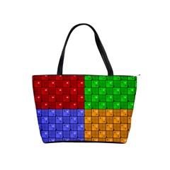 Number Plaid Colour Alphabet Red Green Purple Orange Shoulder Handbags by Jojostore