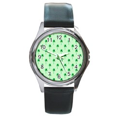 Palm Tree Coconoute Green Sea Round Metal Watch by Jojostore