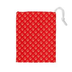 Paw Print Background Wallpaper Cute Paw Print Background Footprint Red Animals Drawstring Pouches (large)  by Jojostore