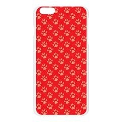 Paw Print Background Wallpaper Cute Paw Print Background Footprint Red Animals Apple Seamless iPhone 6 Plus/6S Plus Case (Transparent) by Jojostore