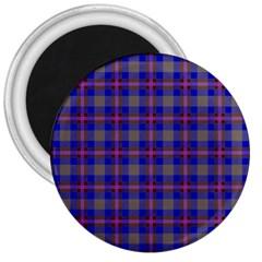 Tartan Fabric Colour Blue 3  Magnets by Jojostore