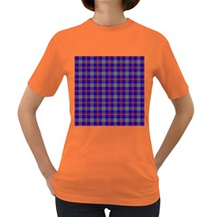 Tartan Fabric Colour Blue Women s Dark T Shirt by Jojostore