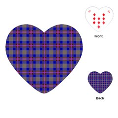 Tartan Fabric Colour Blue Playing Cards (heart)  by Jojostore