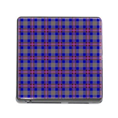 Tartan Fabric Colour Blue Memory Card Reader (square) by Jojostore