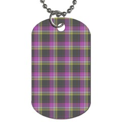Tartan Fabric Colour Purple Dog Tag (Two Sides)