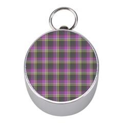 Tartan Fabric Colour Purple Mini Silver Compasses by Jojostore