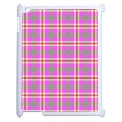 Tartan Fabric Colour Pink Apple Ipad 2 Case (white) by Jojostore