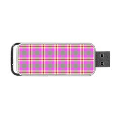 Tartan Fabric Colour Pink Portable Usb Flash (one Side) by Jojostore
