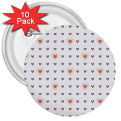 Heart Love Valentine Purple Pink 3  Buttons (10 pack)