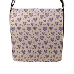 Heart Love Valentine Pink Blue Flap Messenger Bag (l)  by Jojostore