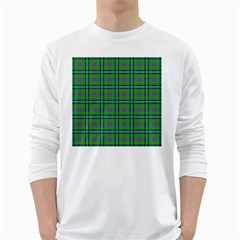 Tartan Fabric Colour Green White Long Sleeve T Shirts by Jojostore