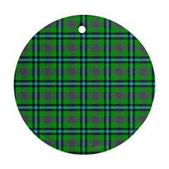 Tartan Fabric Colour Green Round Ornament (two Sides) by Jojostore