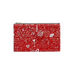 Happy Valentines Love Heart Red Cosmetic Bag (small)  by Jojostore