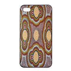 Aborigianal Austrialian Contemporary Aboriginal Flower Apple Iphone 4/4s Seamless Case (black) by Jojostore