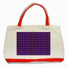 Beach Blue High Quality Seamless Pattern Purple Red Yrllow Flower Floral Classic Tote Bag (red) by Jojostore