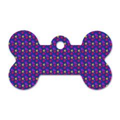 Beach Blue High Quality Seamless Pattern Purple Red Yrllow Flower Floral Dog Tag Bone (two Sides) by Jojostore