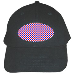 Blue Red Checkered Plaid Black Cap by Jojostore