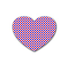 Blue Red Checkered Plaid Heart Coaster (4 Pack)  by Jojostore