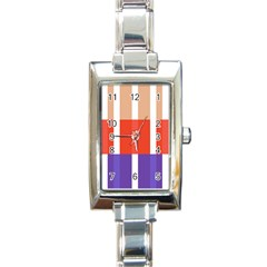 Compound Grid Flag Purple Red Brown Rectangle Italian Charm Watch by Jojostore