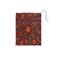 Circle Flower Art Aboriginal Brown Drawstring Pouches (small)  by Jojostore