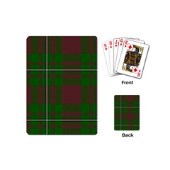Cardney Tartan Fabric Colour Green Playing Cards (mini)  by Jojostore