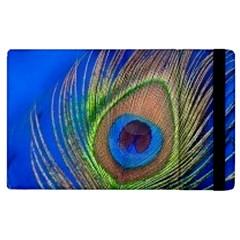 Blue Peacock Feather Apple Ipad 2 Flip Case