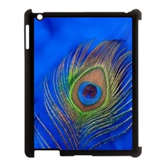 Blue Peacock Feather Apple Ipad 3/4 Case (black) by Amaryn4rt