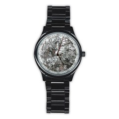 Winter Fall Trees Stainless Steel Round Watch by ansteybeta