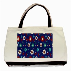 Flower Floral Flowering Leaf Blue Red Green Basic Tote Bag (two Sides) by Jojostore