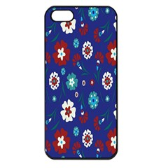 Flower Floral Flowering Leaf Blue Red Green Apple Iphone 5 Seamless Case (black) by Jojostore