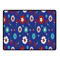 Flower Floral Flowering Leaf Blue Red Green Double Sided Fleece Blanket (small)  by Jojostore