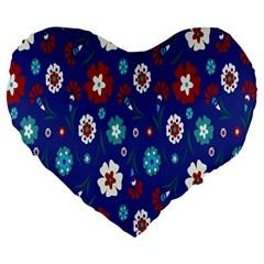 Flower Floral Flowering Leaf Blue Red Green Large 19  Premium Flano Heart Shape Cushions by Jojostore
