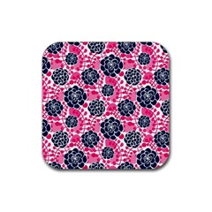 Flower Floral Rose Purple Pink Leaf Rubber Square Coaster (4 Pack)  by Jojostore